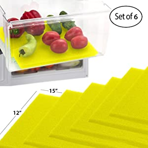 Dualplex Fruit & Veggie Life Extender Liner for Fridge Refrigerator Drawers, 12 x 15 Inches (6 Pack) – Extends The Life of Your Produce Stays Fresh & Prevents Spoilage, (Yellow)