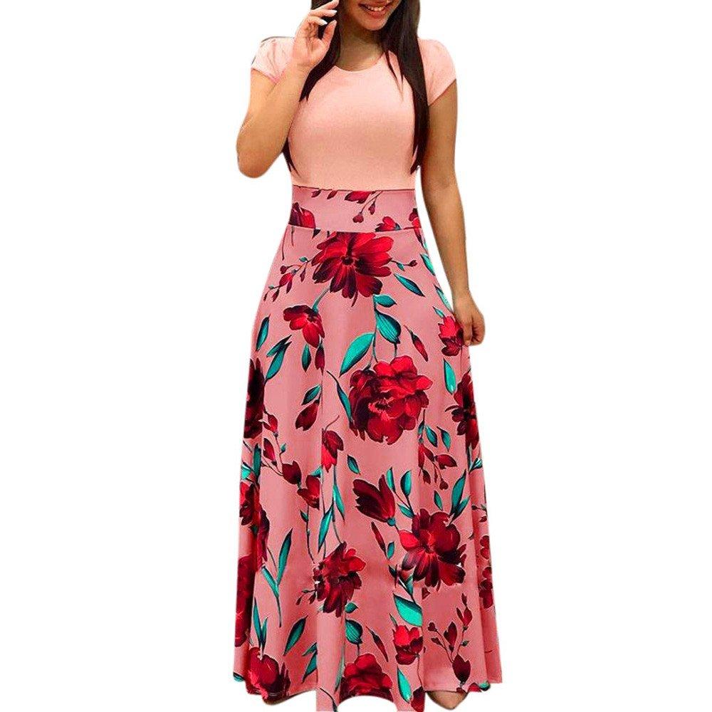iLUGU Womens Short Sleeve Maxi Dress Round Neck Floral Print Casual Tunic Long Maxi Dress by iLUGU