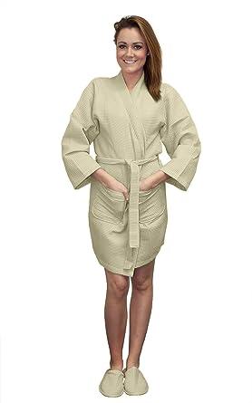 faa2bb83b4 TowelBathrobe Wholesale 6 Pack Thigh Length Waffle Weave Kimono Robes Beige  Small  Medium