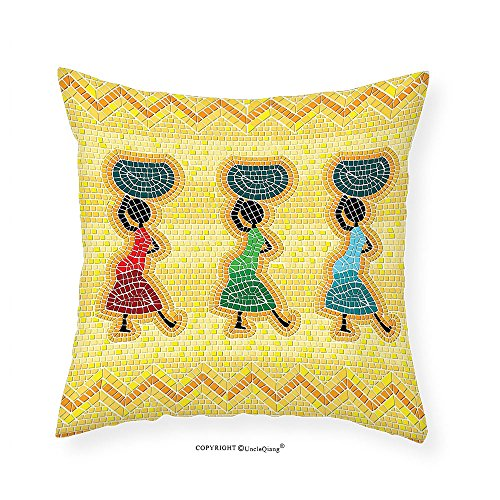 VROSELV Custom Cotton Linen Pillowcase Primitive Decor Collection Mosaic Pattern of An African Scene with Women Carrying Food Basket Traditional Life Print Bedroom Living Room Dorm Multi 26