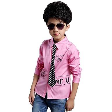 9ec9540c287ac FEVON シャツ 子供 男の子 ワイシャツ 長袖 フォーマル ネクタイ付き かっこいい Yシャツ キッズ ボーイズ 可愛い プリント