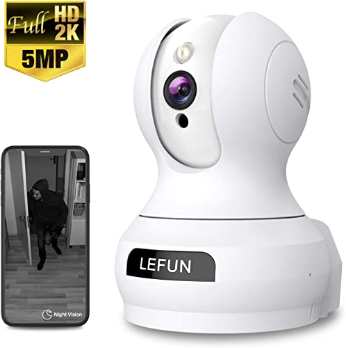 Pet Dog Camera, 5MP HD Lefun Wireless Camera, Baby Monitor WiFi IP Camera for Nanny Home Indoor Security Camera with Sound Motion Detect Deterrent Alarm Two-Way Audio Night Vision Pan Tilt Zoom Webcam