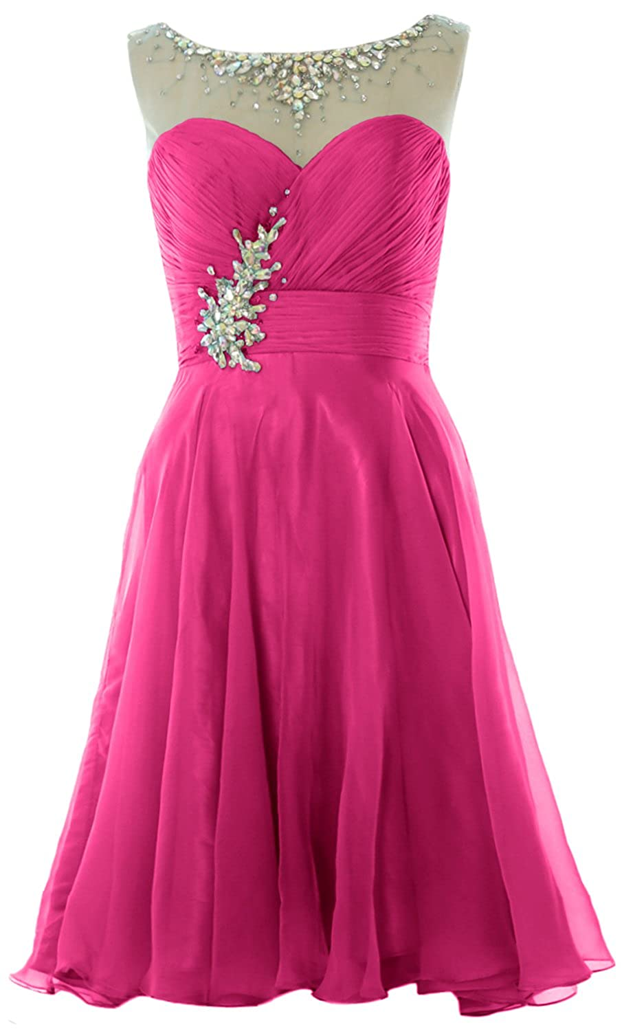 MACloth Women Straps Crystal Chiffon Short Prom Dress Cocktail Party Formal Gown