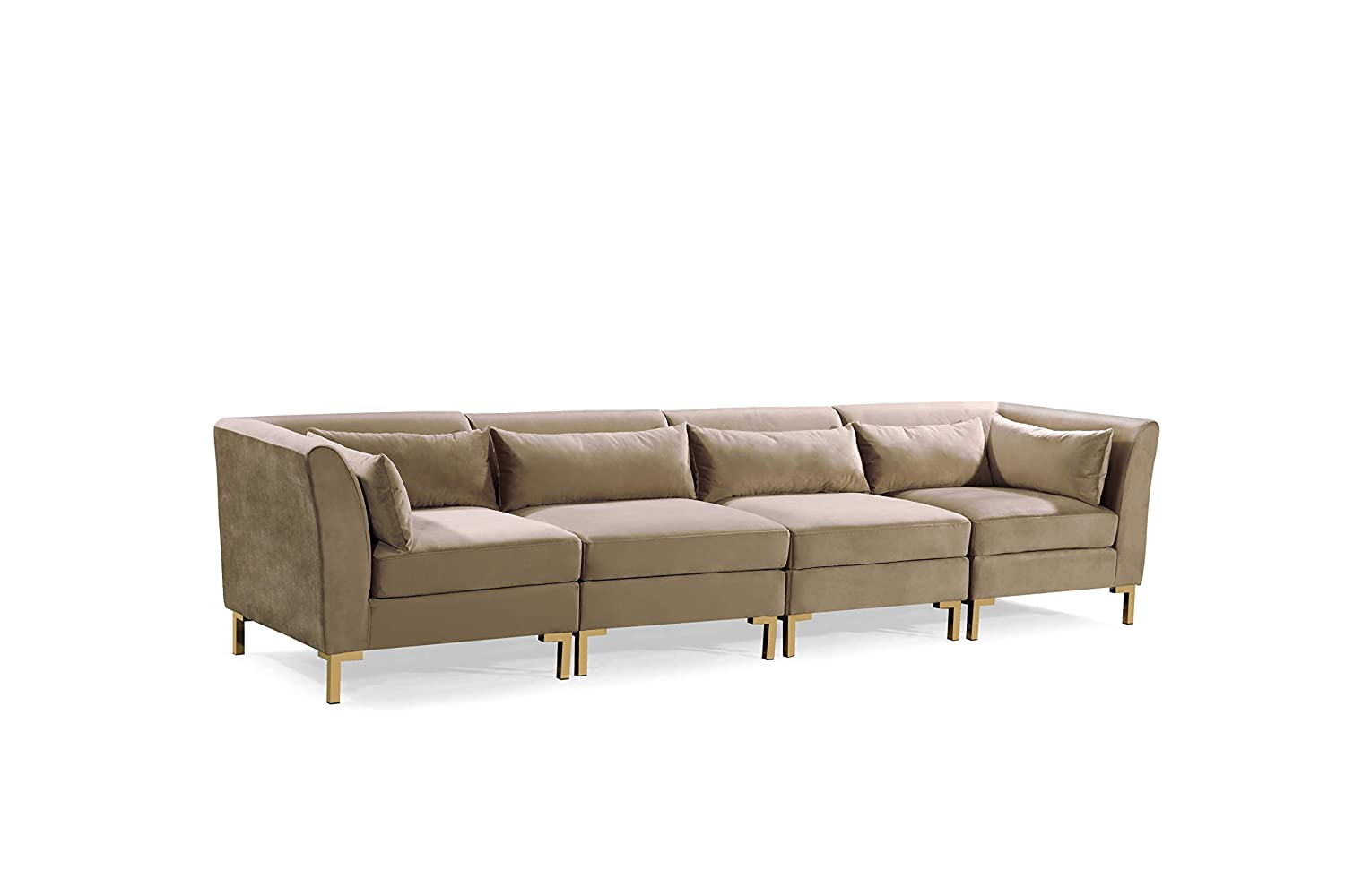 Admirable Iconic Home Fsa9260 An Girardi Modular Chaise Sectional Sofa Velvet Upholstered Solid Gold Tone Metal Y Leg With 6 Throw Pillows Modern Contemporary Pabps2019 Chair Design Images Pabps2019Com