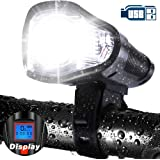 LETOUR Bicycle Light Speedometer Multi - Function with LCD Display Night Riding Bicycle Odometer USB Rechargeable Code Table Bike Light Cycling Headlight Loud Electric Bike Alarm Bell Horn