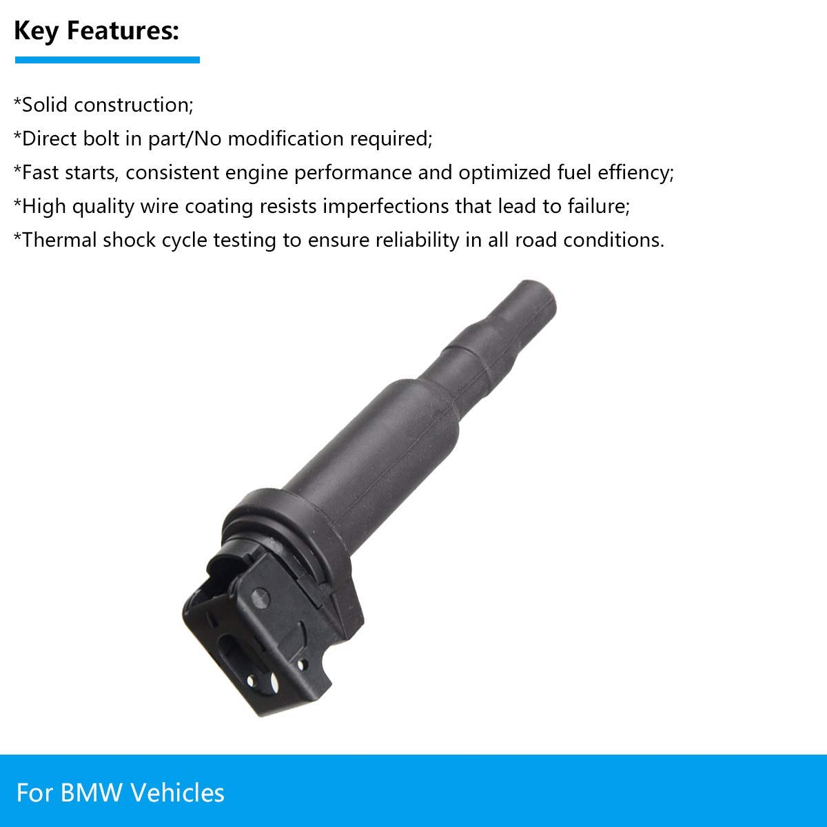 2 Yr Warranty FAERSI Ignition Coil Pack of 1 Replaces OE# 0221504470 for BMW 325i 325Ci 328i 330Ci 335i 525i 528i 530i 535i 545i 745Li X3 X5 M5 M6 Z4 /& More