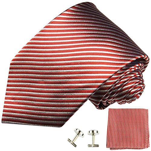 Cravate rouge rayée ensemble de cravate 3 Pièces ( 100% Soie Cravate + Mouchoir + Boutons de manchette )