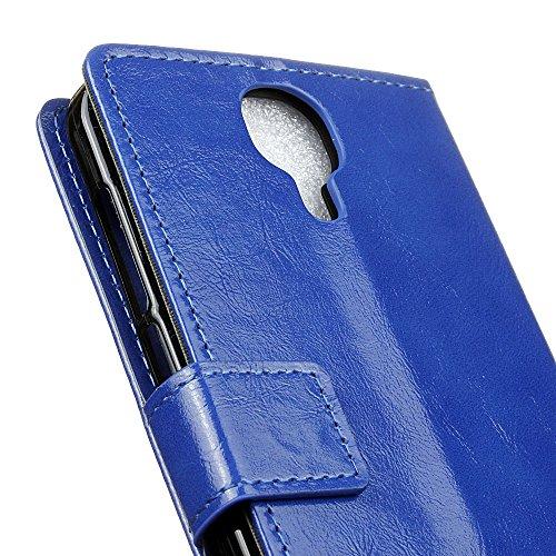 Lusee® PU Caso de cuero sintético Funda para Doogee X9 / X9 Pro 5.5 Pulgada Cubierta con funda de silicona botón caballo Loco patrón azul