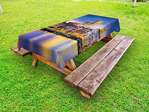 European Dinner Reflections (Lunarable Scenery Outdoor Tablecloth, European City Country Landscape Reflection to the Sea Harbor Image Photo Print, Decorative Washable Picnic Table Cloth, 58 X 84 Inches, Multicolor)