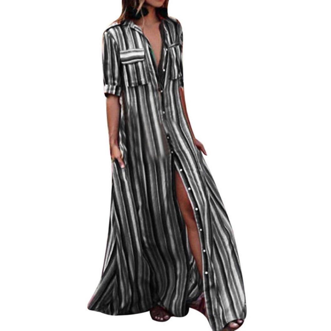 Funic Womens Half Sleeve Striped Dress Multicolor Loose Button Bohe Beach Long Robe Dresses