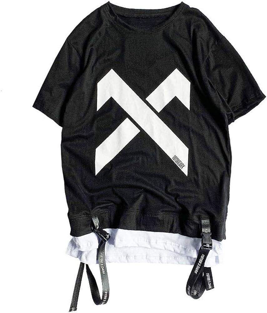 Tasty Life Camiseta De Hip-Hop para Hombre Moda Falsa De Dos Piezas Camiseta con Estampado De Verano Cuello Redondo Camisa Suelta De Manga Corta Estilo Anime Punk Ropa De Calle(M, Black): Amazon.es: