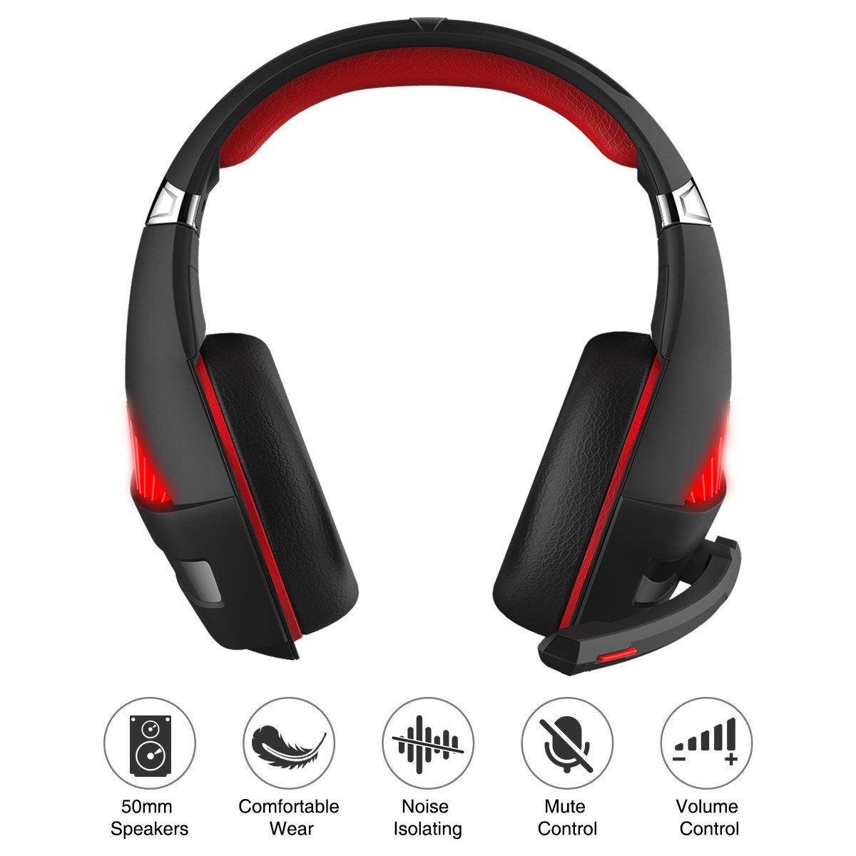 Gaming Headset, Beexcellent Gaming headphone with Microphone for PS4/Xbox One(Adapter Need)/Nintendo Switch(Audio)/PC/Controller/Cellphone-Easy Volume Control with LED Lighting 3.5MM Jack(GM-5 Red) by Beexcellent (Image #3)