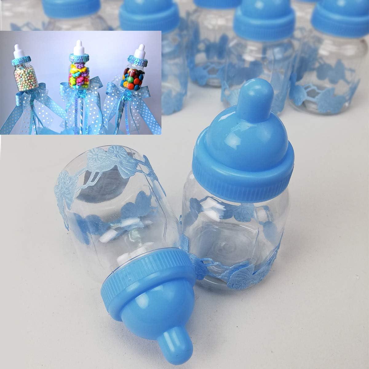 Biberones de Bautizo Niño,50 Pequeños y 1 Grande de Regalo para Bautizo con Lazo Azul-Azul Grande: Amazon.es: Bebé