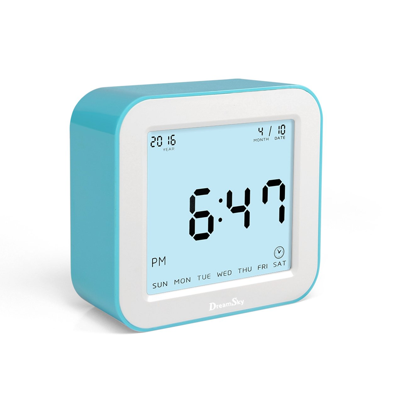 DreamSky Digital Alarm Clock With Timer, Time/Alarm/Timer/Temperature Display In 4 Angle, Light Activated Night Light -Battery Operated Travel Alarm Clock,Simple To Set Clocks, Blue