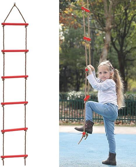 ROCK1ON 6 Pasos Escalera de Cuerda de Escalada para Interiores y Exteriores 79 Pulgadas de Longitud Niños de Plastico Columpio Deportes Ideal para Escalada árbol Casa de Juegos 150kg: Amazon.es: Deportes y