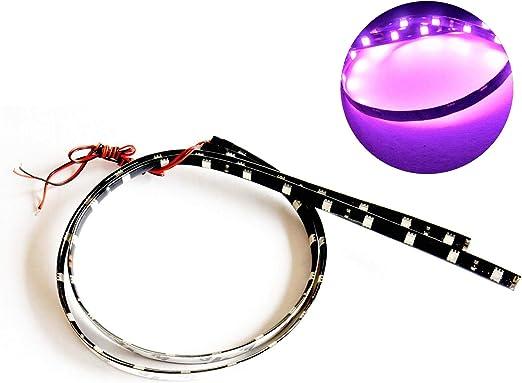 2x Purple 30cm Flexible LED Strip SMD5050 High Bright Car Decor Light Waterproof