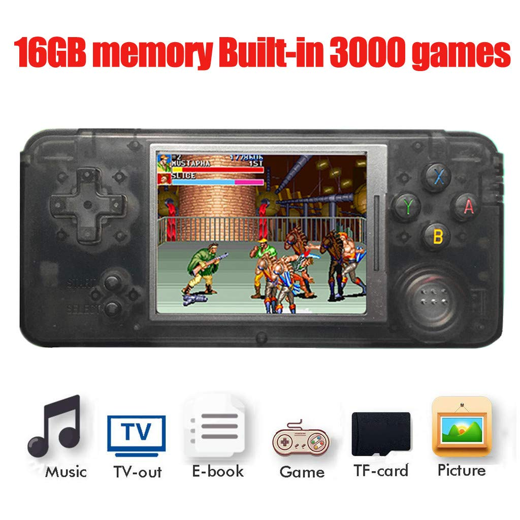 callm Handheld Game Console, Portable Handheld Game Console Retro Game Console 3 inch High Definition Display Screen 16GB Build in 3000 Classic Games Player (Black) by callm (Image #2)