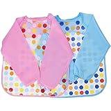 Blulu Unisex Baby Waterproof Sleeved Bib Long Sleeve Bib for Infant Toddler, Set of 2