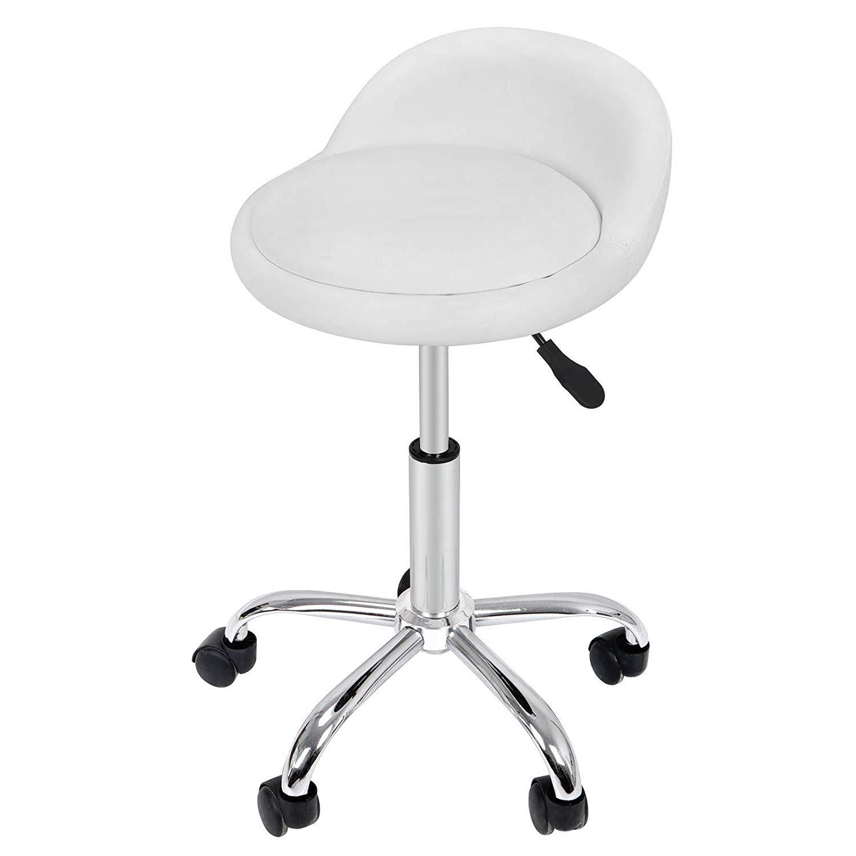 HomGarden Adjustable Hydraulic Rolling Swivel Stool for Massage Salon Office Facial Spa Medical Tattoo Chair Stool w Backrest Cushion Wheels White 1pcs