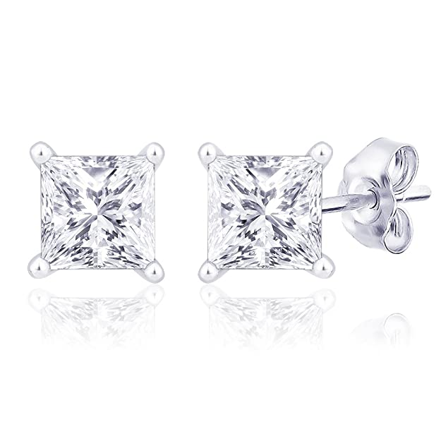 Peora Valentine Rhodium Plated Princess Cut Square Cubic Zirconia Stud Earrings (PE754) Earrings at amazon