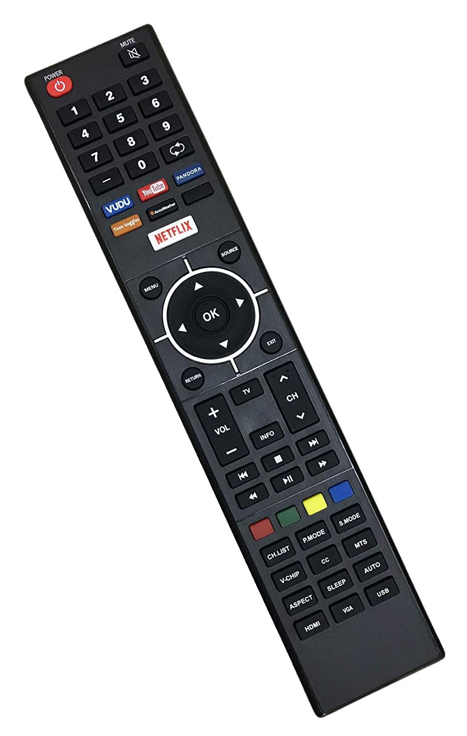 New Remote Control Replacement with VUDU Netflix for ELST4316S E2SW5018  ELSW3917BF ELST5016S E2SW5018 E4SFT5017 E4STA5017 ELSJ5017 Element LED TV