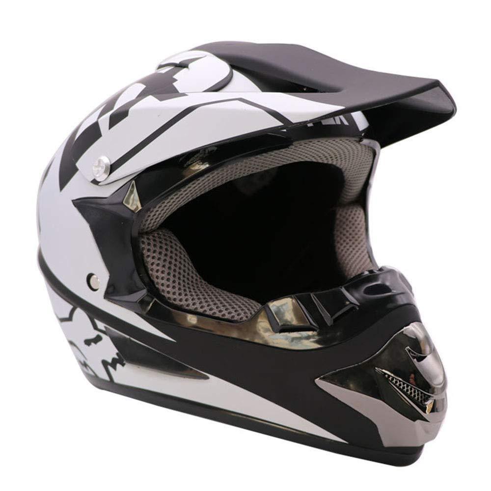 QMHG Motocross-Helm Offroad-Lokomotive ATV Motorrad Integralhelme Four Seasons Universal Unisex Wei/ß Schwarz,S