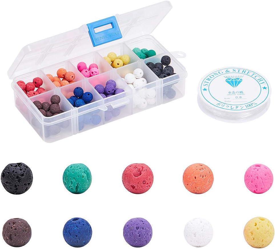 SUNNYCLUE 1 Caja 200 Piezas 10 Colores Cuentas de Piedra de Lava Natural 8 mm Ronda Suelta Chakra Rock Beads Kit con 1 Rollos de Hilo de Cristal para Aceite Yoga Difusor Pulsera Collar Haciendo