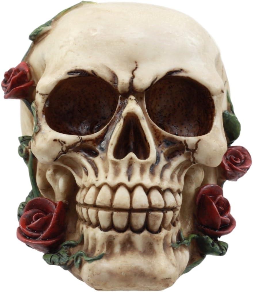 Ebros Gift Day of The Dead Red Rose Vine Skull Figurine DOD Floral Sugar Skull Decor 6