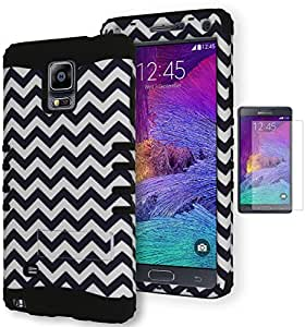 Galaxy Note 4 Case, Bastex Heavy Duty Hybrid Kickstand Protective Case - Soft Black Silicone Cover with Black and White Chevron Design Hard Shell for Samsung Galaxy Note 4 [Includes a Screen Protector]
