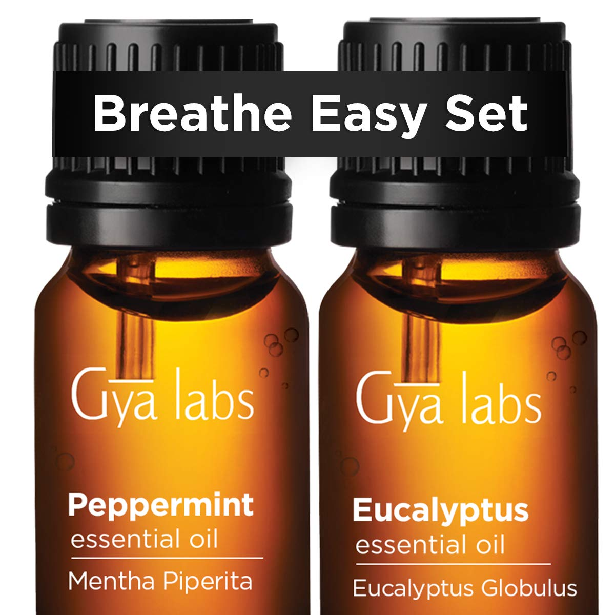Peppermint Essential Oil & Eucalyptus Oil - Gya Labs Breathe Easy Set For Nausea Relief & Headache Relief - 100% Pure Therapeutic Grade Essential Oils Set for Congestion Relief & Purify Air - 2x10ml