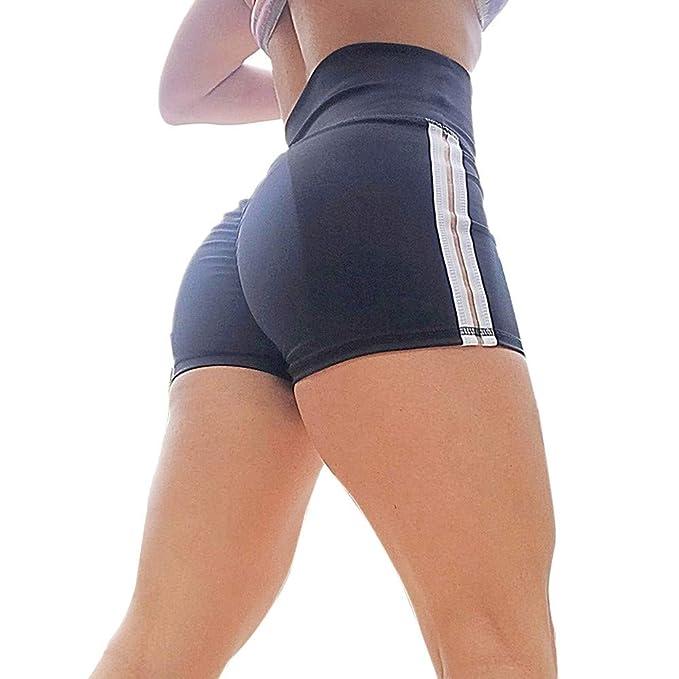 Women Striped Sports Shorts Gym Workout Waistband Skinny ...