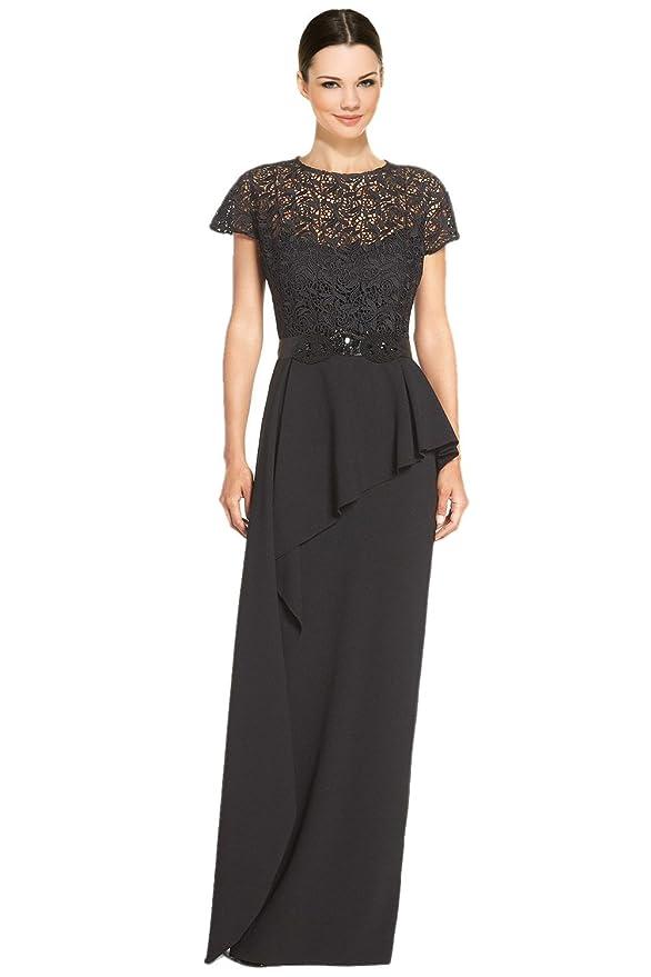 Teri Jon Embellished Lace Bodice Peplum Evening Gown Dress ...