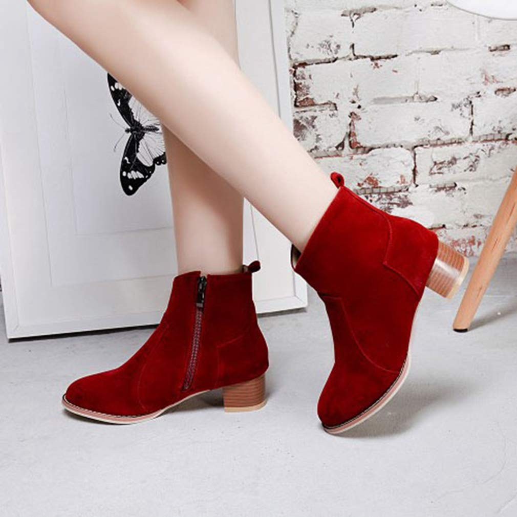 GIY Chunky Women's Retro Chunky GIY Mid Heel Ankle Boots Suede Platform Bootie Stacked Heel Tassel Martin Short Boot B07HF6TTHR Chelsea Boots 8a51ea