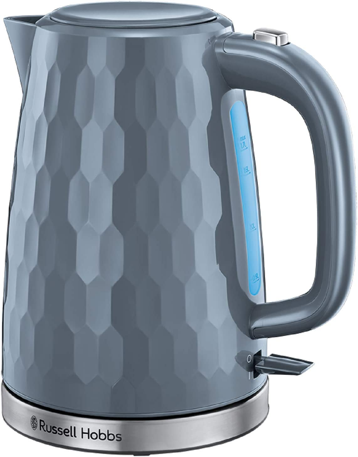 Russell Hobbs 26053 Cordless Electric Kettle Contemporary Honeycomb Design with Fast Boil and Boil Dry Protection, 1.7 Litre, 3000 W, Grey