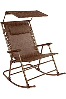 Bliss Hammocks Rocking Chair With Canopy U0026 Pillow, Brown Jacquard