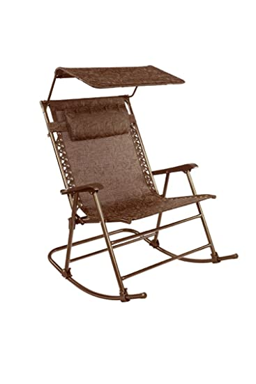 Medium image of bliss hammocks rocking chair with canopy  u0026 pillow brown jacquard