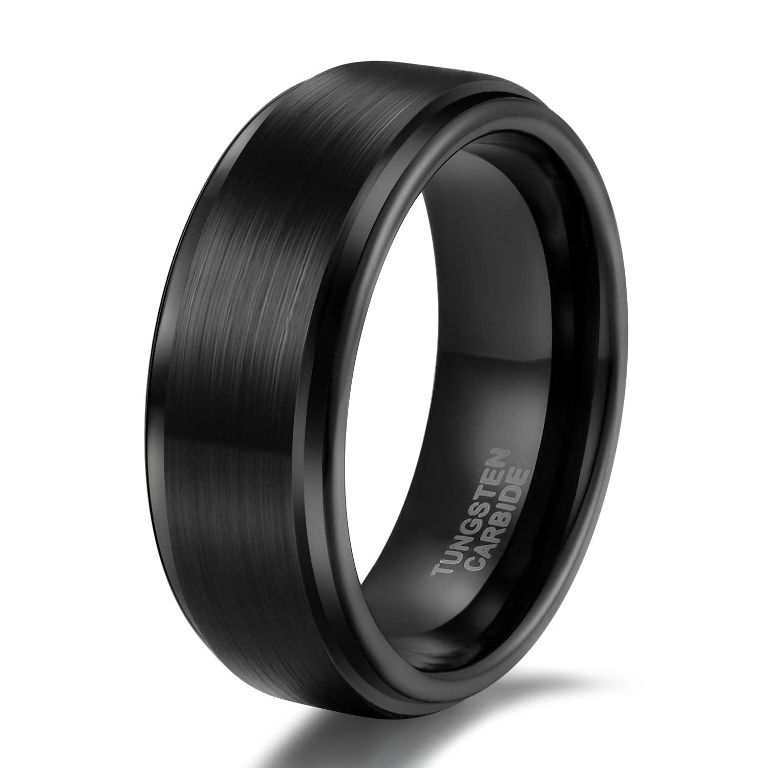8mm Black Mens Tungsten Wedding Ring Band Brushed Stepped Edge Comfort Fit Size 6.5