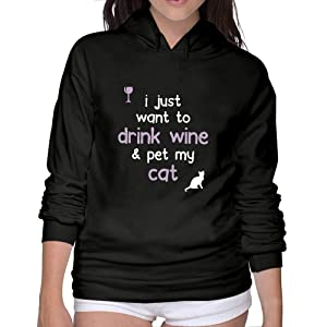 Women's Drink Wine & Pet My Cat Hooded Sweatshirt Black