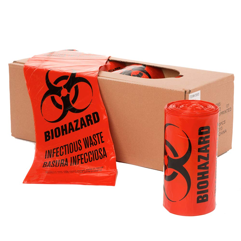 APQ Pack of 25 Open Ended Biohazard Liners, Red 24 x 23. Disposable Trash Bags 24x23, 1.3 mil. Pre-Printed Poly Bags for Packing and disposing Medical Waste. Plastic Bags for Healthcare Applications. by APQ Supply