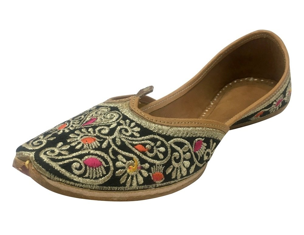 Step n Style Black Indian Beaded Shoes Flip Flop Sandal Punjabi Jutti Khussa Flat Shoes