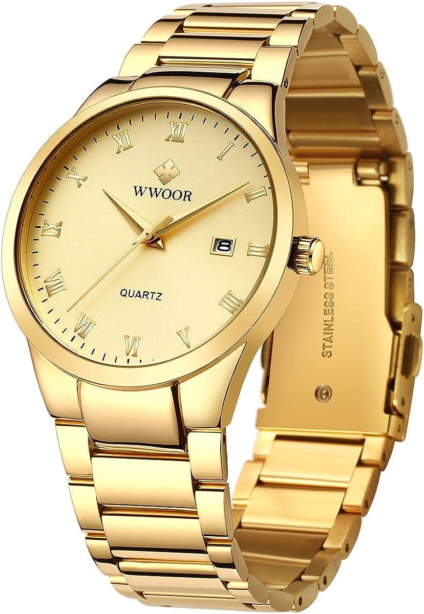 WWOOR - Reloj de pulsera para hombre, de acero inoxidable y metal, color negro y dorado, impermeable, con fecha