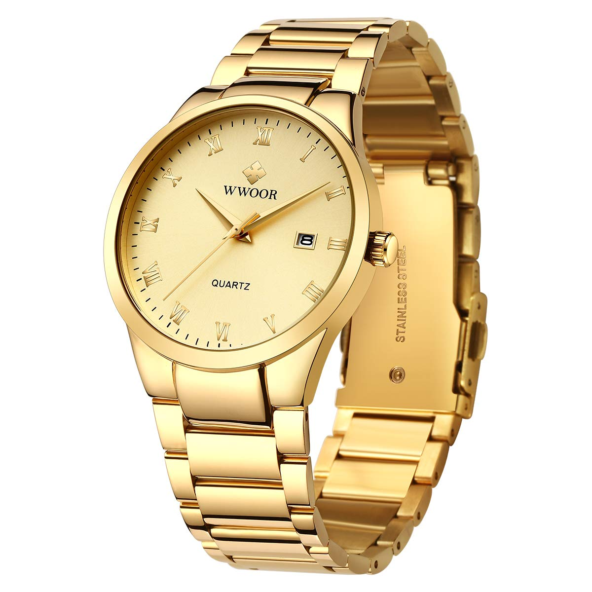 WWOOR Men s Watch Analog Quartz Waterproof Watch with Date Fashion Business Stainless Steel Casual Gift Wrist Watches