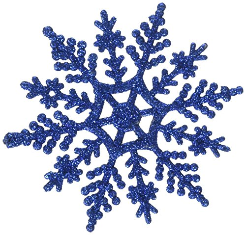 Club Pack of 24 Lavish Blue Glitter Snowflake Christmas Ornaments 4