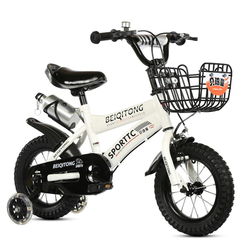 子供用自転車適合2-3-6-8男の子と女の子子供用玩具屋外用マウンテンバイクハンドルバーとサドルはフラッシュトレーニングホイールで調節可能な高さにできますウォーターボトルとホルダー-12/14/16/18インチ B07BTW32CG 14 inches|白 白 14 inches