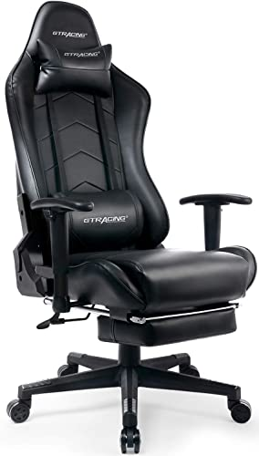 GTRACING Gaming Chair with Footrest Big and Tall Office Executive Chair Heavy Duty Adjustable Recliner with Headrest Lumbar Support Cushion Computer Desk Chair Black