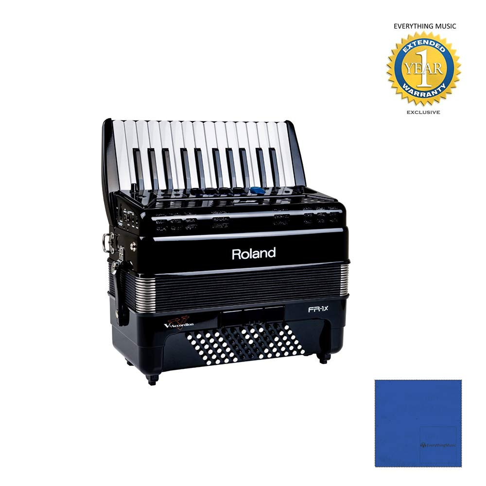 Roland FR-1x Piano type V-Accordion Black with Microfiber and 1 Year Everything Music Extended Warranty by Roland