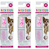 Kitty Caps Nail Caps for Cats | White with Pink Tips & Clear with Pink Glitter, 40 Count, Medium - 3 Pack | Safe…