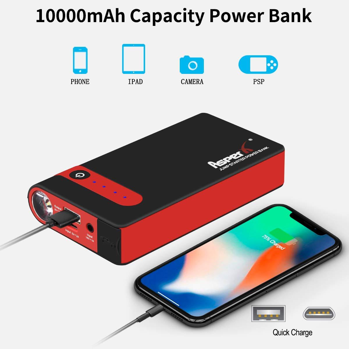 Paquete de energ/ía port/átil para autom/óvil de 12V con Carga r/ápida 500A Peak 10000mAh Arranque Bater/ía hasta 4.5L de Gas, 2.5L Motores Diesel Puerto USB y Linterna LED AsperX Arrancador de Coche