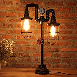 "Vintage Table Lamp Lighting, MKLOT Ecopower Plug-in Retro Industrial Iron Pipe Table Lamp 15.35""x25.59"" Edison Desk Accent Lamp Light For Bar Salon Living Room Bedroom 2-Lights"