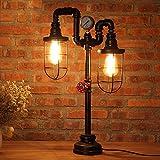 Vintage Table Lamp Lighting, MKLOT Ecopower Plug-in Retro Industrial Iron Pipe Table Lamp 15.35''x25.59'' Edison Desk Accent Lamp Light For Bar Salon Living Room Bedroom 2-Lights